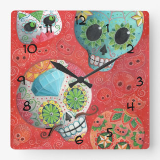 Three Day of The Dead Skulls Square Wall Clock