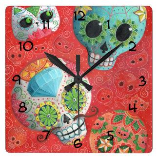 Three Day of The Dead Skulls Square Wall Clock