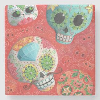 Three Day of The Dead Skulls Stone Coaster