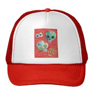 Three Day of The Dead Skulls Trucker Hat