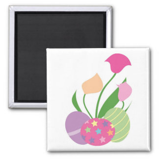 Three Decorative Eggs with Flowers 2 Inch Square Magnet
