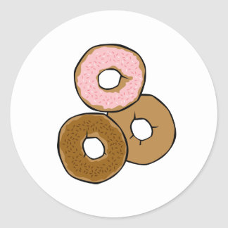 Three Delicious Donuts Round Stickers