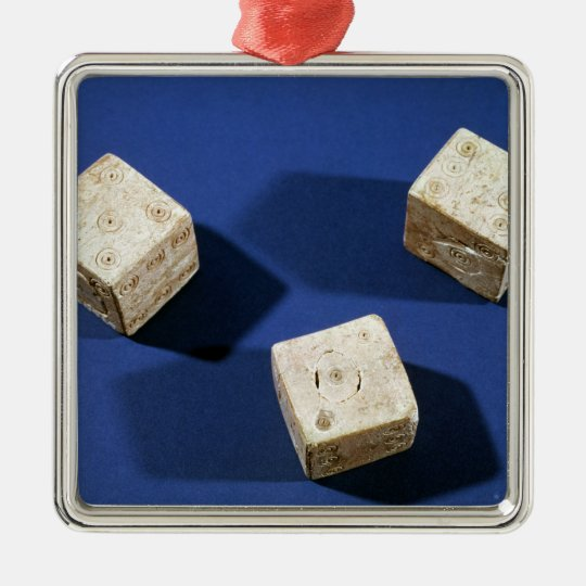 Three dice, from the acropolis at Osteria Metal Ornament