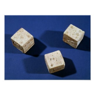 Three dice, from the acropolis at Osteria Poster