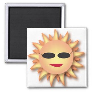 Three-Dimensional Cartoon Sun with Shades 2 Inch Square Magnet