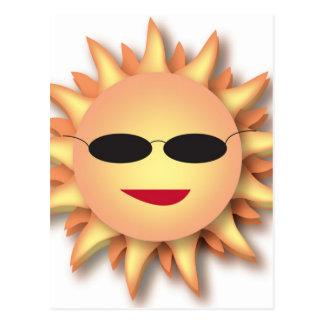 Three-Dimensional Cartoon Sun with Shades Postcard