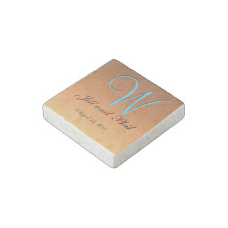 Three-Dimensional Light Brown Monogram Stone Magnet