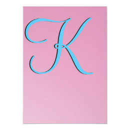 Three-Dimensional Pink Monogram Card