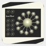 Three Dimensional Space Flower Square Sticker