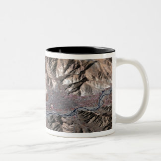 Three-dimensional view of the landscape Two-Tone coffee mug