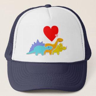 Three Dinosaurs Love Heart Cap