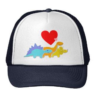 Three Dinosaurs Love Heart Cap Mesh Hat