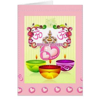 three-diyas greeting card