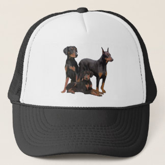three doberman dogs trucker hat