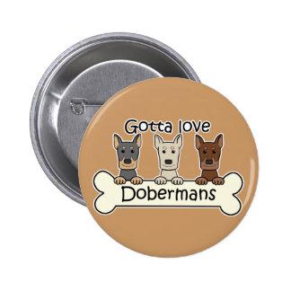 Three Dobermans 2 Inch Round Button