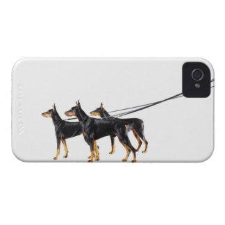 Three Dobermans on leash Case-Mate iPhone 4 Case