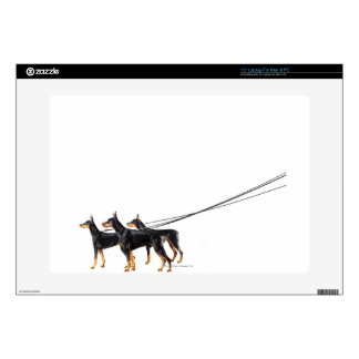 "Three Dobermans on leash Skin For 15"" Laptop"