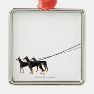 Three Dobermans on leash Square Metal Christmas Ornament
