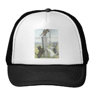 Three Dog Terriers And Cat Trucker Hat