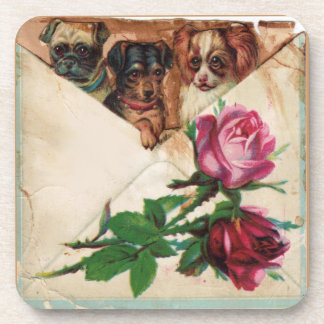 THREE DOGGIES AND ROSES DRINK COASTER