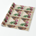 THREE DOGGIES AND ROSES GIFT WRAPPING PAPER