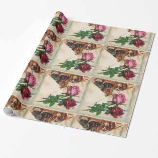 THREE DOGGIES AND ROSES WRAPPING PAPER