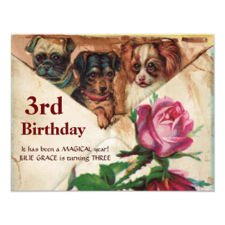 THREE DOGGIES WITH ROSES,3rd Birthday Parchment 4.25x5.5 Paper Invitation Card