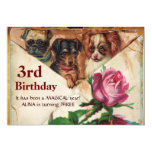 THREE DOGGIES WITH ROSES,3rd Birthday Parchment Custom Invite
