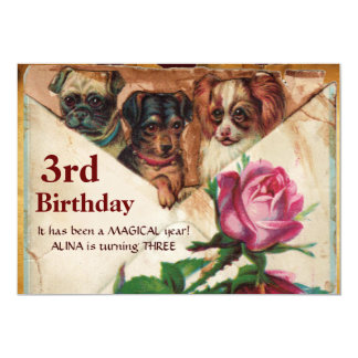 THREE DOGGIES WITH ROSES,3rd Birthday Parchment 5x7 Paper Invitation Card