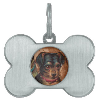 THREE DOGGIES WITH ROSES detail Pet ID Tag