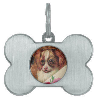 THREE DOGGIES WITH ROSES detail Pet Name Tag