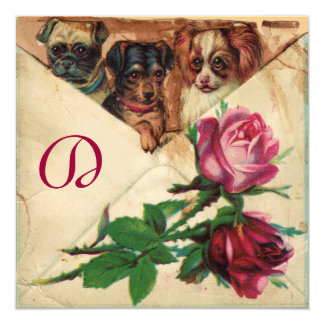 THREE DOGGIES WITH ROSES 5.25X5.25 SQUARE PAPER INVITATION CARD