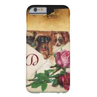 THREE DOGGIES WITH ROSES MONOGRAM BARELY THERE iPhone 6 CASE