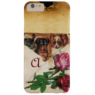 THREE DOGGIES WITH ROSES  MONOGRAM BARELY THERE iPhone 6 PLUS CASE