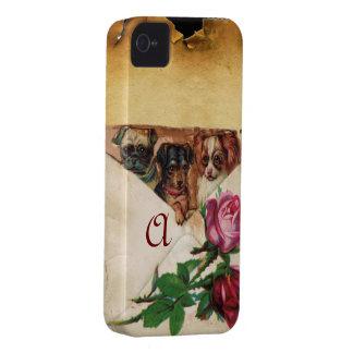 THREE DOGGIES WITH ROSES  MONOGRAM iPhone 4 COVERS