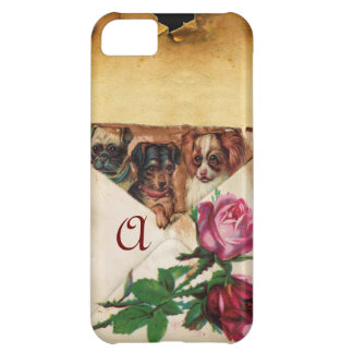THREE DOGGIES WITH ROSES MONOGRAM COVER FOR iPhone 5C