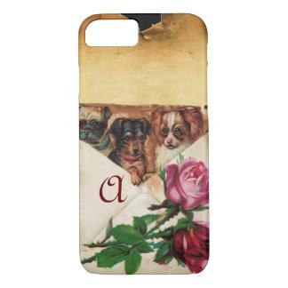 THREE DOGGIES WITH ROSES  MONOGRAM iPhone 8/7 CASE
