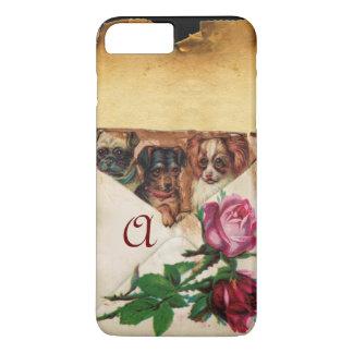 THREE DOGGIES WITH ROSES MONOGRAM iPhone 8 PLUS/7 PLUS CASE