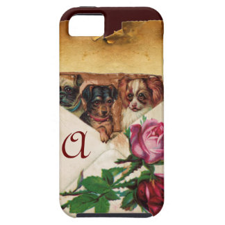 THREE DOGGIES WITH ROSES  MONOGRAM iPhone SE/5/5s CASE