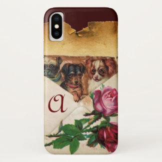 THREE DOGGIES WITH ROSES  MONOGRAM iPhone X CASE