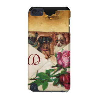THREE DOGGIES WITH ROSES MONOGRAM iPod TOUCH (5TH GENERATION) COVERS