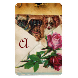 THREE DOGGIES WITH ROSES  MONOGRAM MAGNET