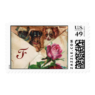 THREE DOGGIES WITH ROSES  MONOGRAM STAMPS