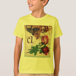THREE DOGGIES WITH ROSES  MONOGRAM T-Shirt