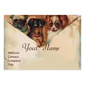 THREE DOGGIES WITH ROSES, Parchment,Monogram Large Business Card
