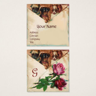 THREE DOGGIES WITH ROSES, Parchment,Monogram Square Business Card