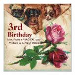 THREE DOGGIES WITH ROSES,Third Birthday Parchment Custom Invite
