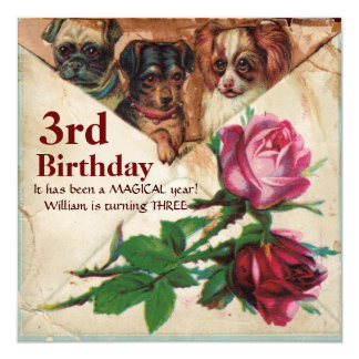 THREE DOGGIES WITH ROSES,Third Birthday Parchment 5.25x5.25 Square Paper Invitation Card