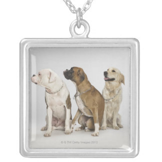 three dogs all looking to the right silver plated necklace