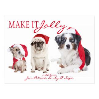 Three Dogs At Christmas Postcard